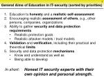 general aims of education in it security sorted by priorities