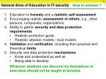 general aims of education in it security sorted by priorities10