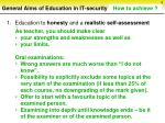 general aims of education in it security sorted by priorities6