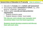 general aims of education in it security sorted by priorities8