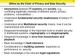 offers by the chair of privacy and data security
