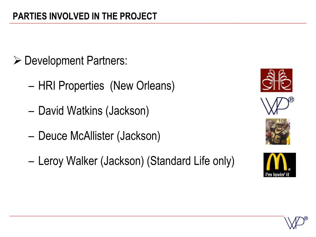 PARTIES INVOLVED IN THE PROJECT