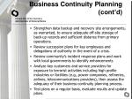 business continuity planning cont d