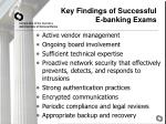 key findings of successful e banking exams