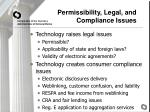 permissibility legal and compliance issues