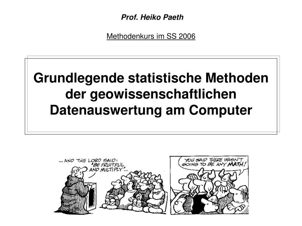 grundlegende statistische methoden der geowissenschaftlichen datenauswertung am computer l.