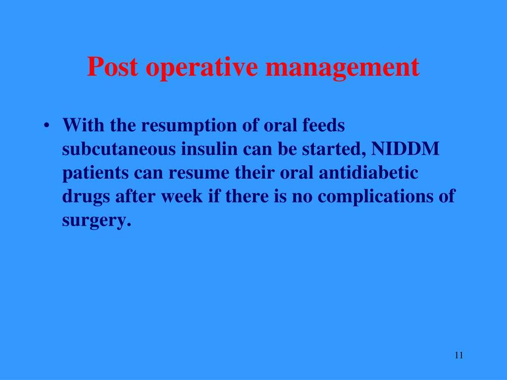 Post operative management