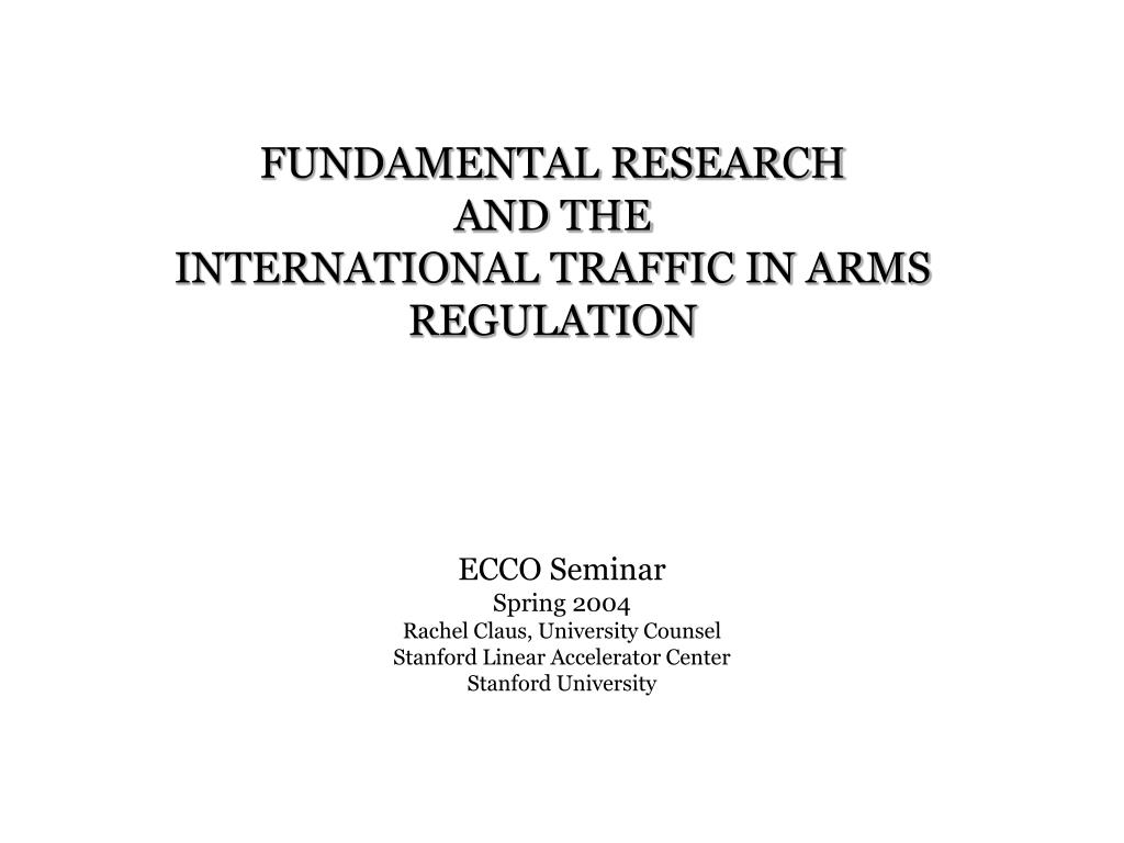 fundamental research and the international traffic in arms regulation l.