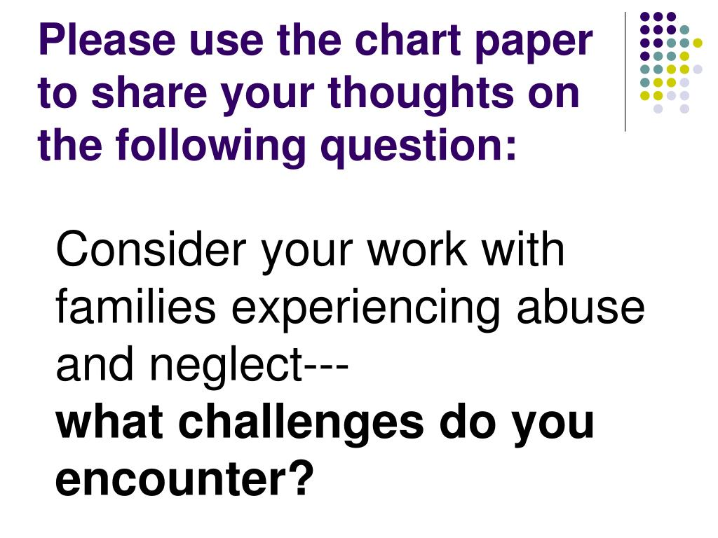 please use the chart paper to share your thoughts on the following question l.