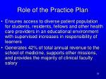 role of the practice plan