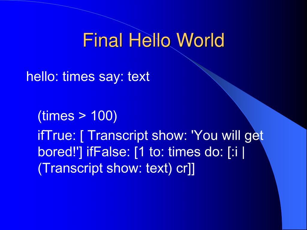 Final Hello World