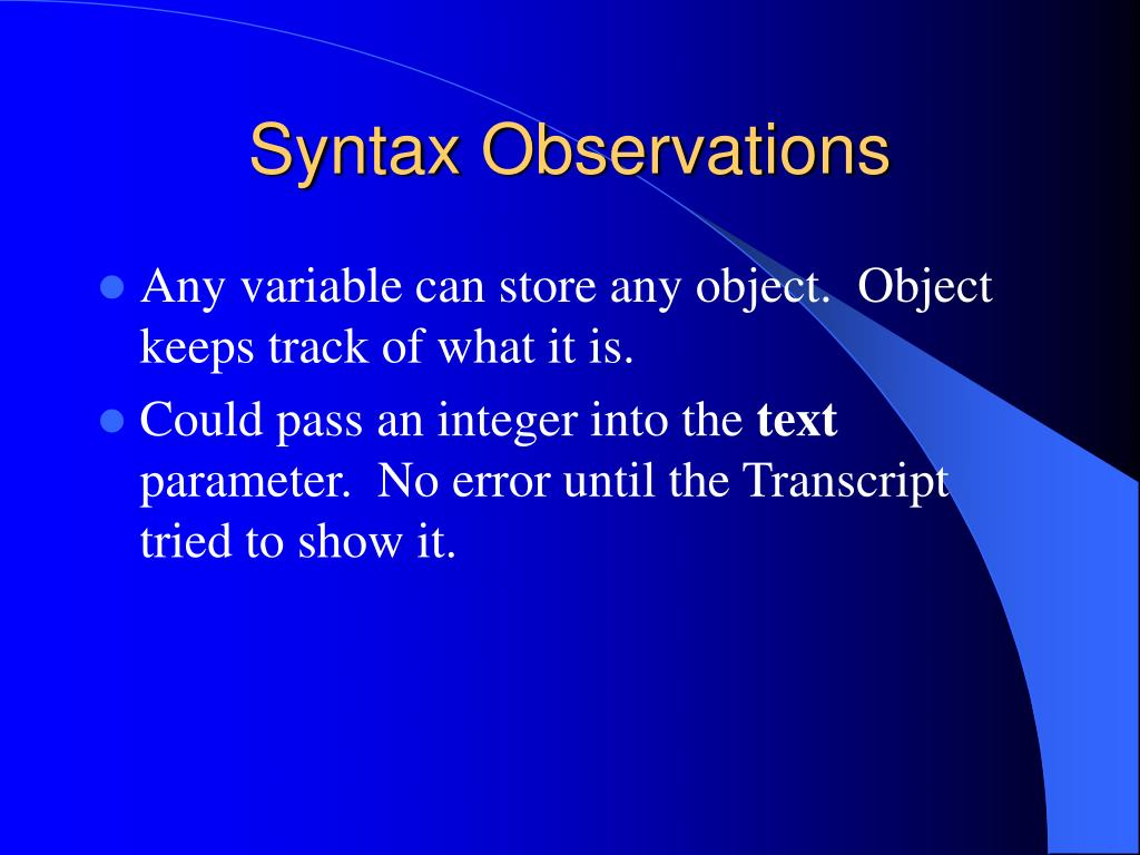 Syntax Observations