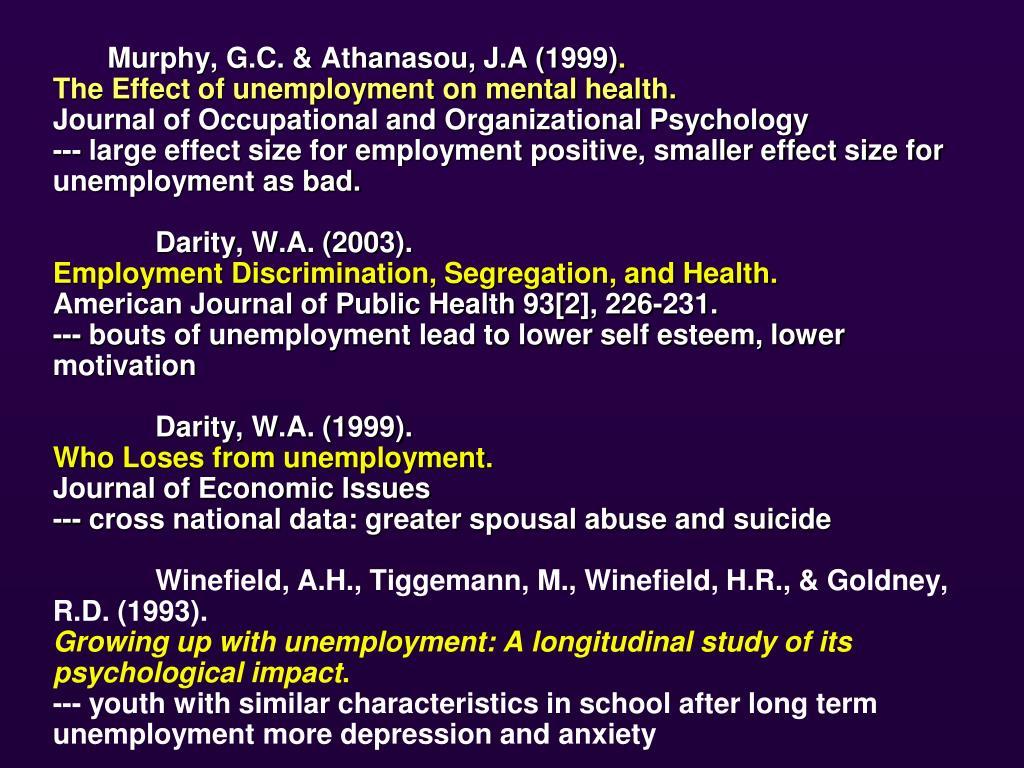 Murphy, G.C. & Athanasou, J.A (1999)