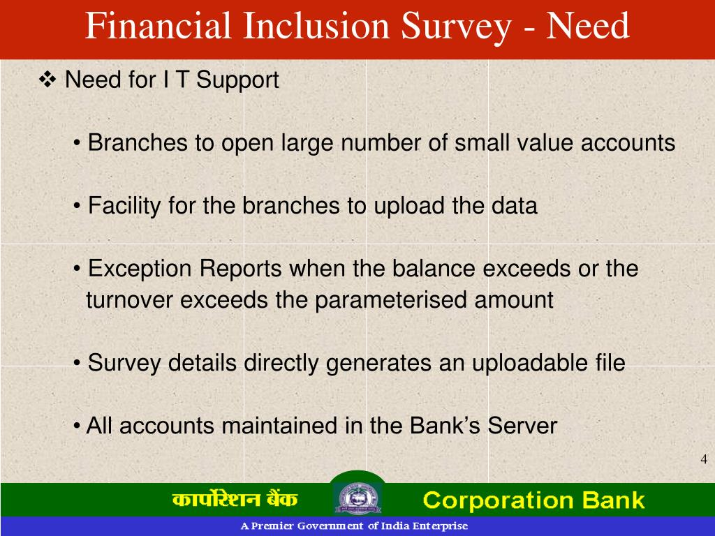 Financial Inclusion Survey - Need