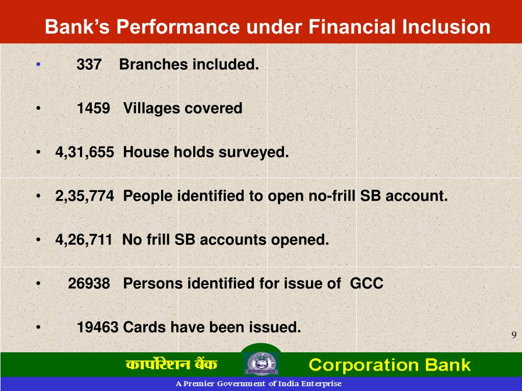 Bank's Performance under Financial Inclusion
