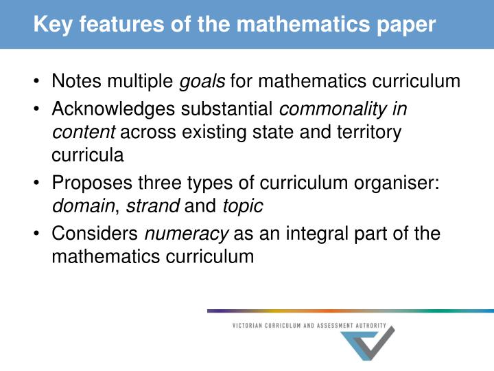Key features of the mathematics paper