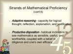 strands of mathematical proficiency cont d