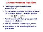 a greedy ordering algorithm