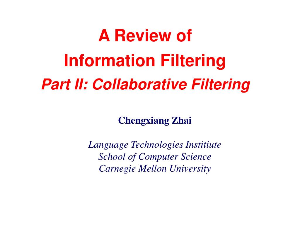 a review of information filtering part ii collaborative filtering l.