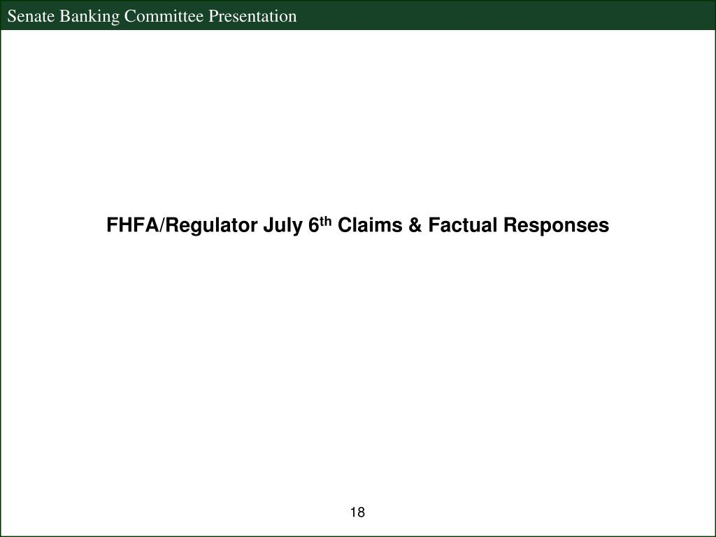 FHFA/Regulator July 6