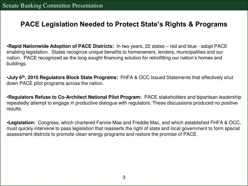 PACE Legislation Needed to Protect State's Rights & Programs