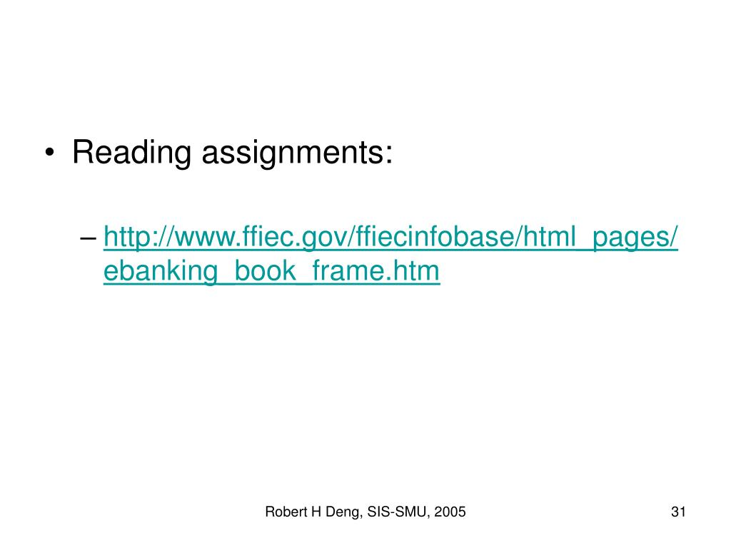 Reading assignments: