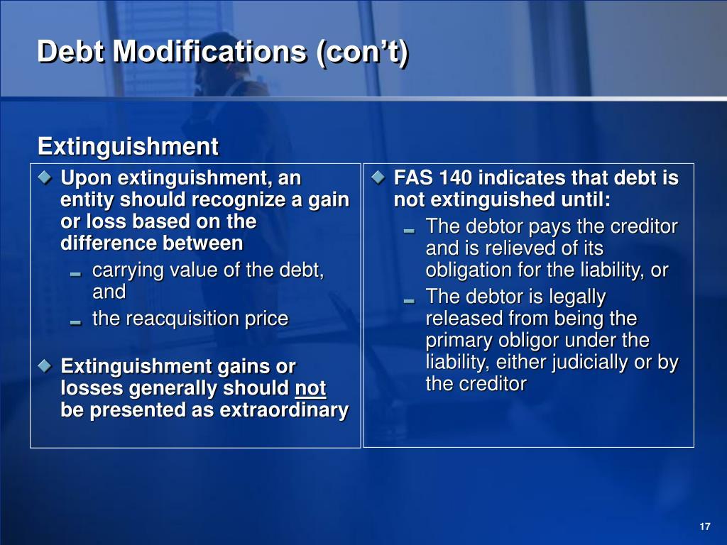 Debt Modifications (con't)