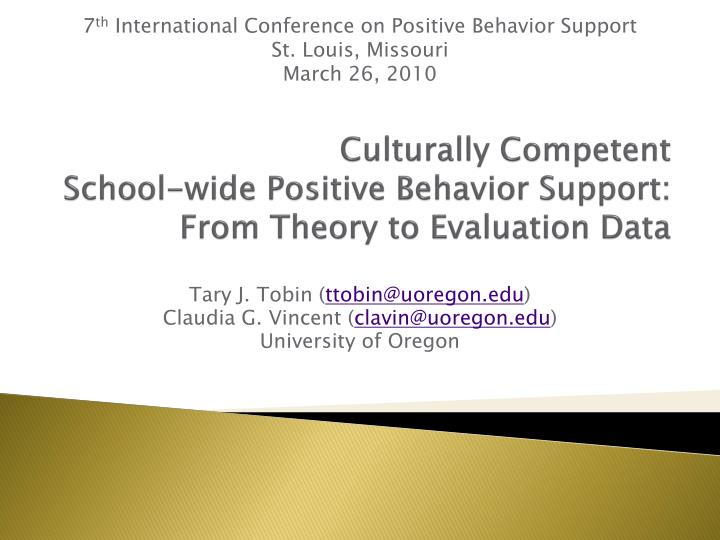 culturally competent school wide positive behavior support from theory to evaluation data n.