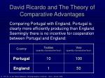 david ricardo and the theory of comparative advantages