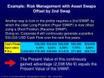example risk management with asset swaps offset by 2nd swap