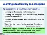 learning about history as a discipline