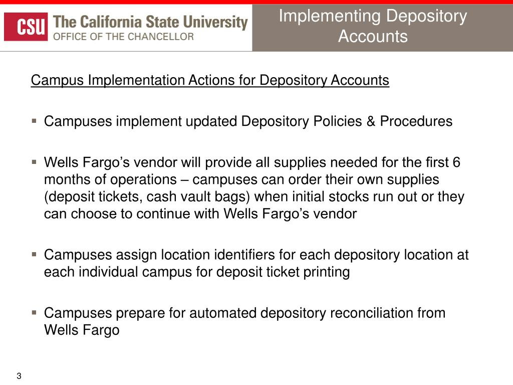 Implementing Depository Accounts