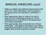 manual handling cont