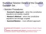 numerical solution details of the coupled equation set
