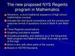 the new proposed nys regents program in mathematics