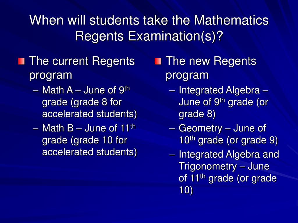 The current Regents program