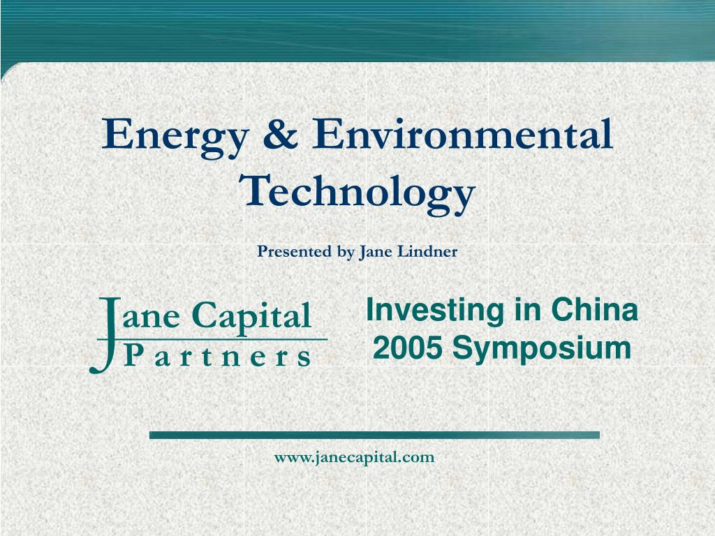 energy environmental technology presented by jane lindner l.