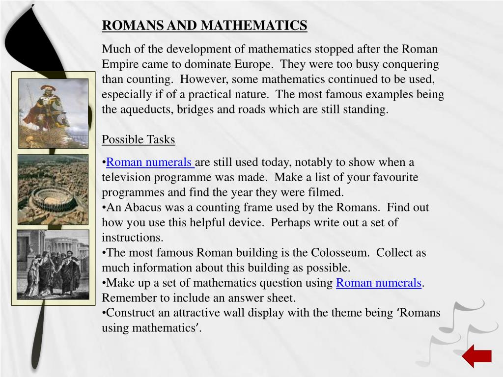 ROMANS AND MATHEMATICS