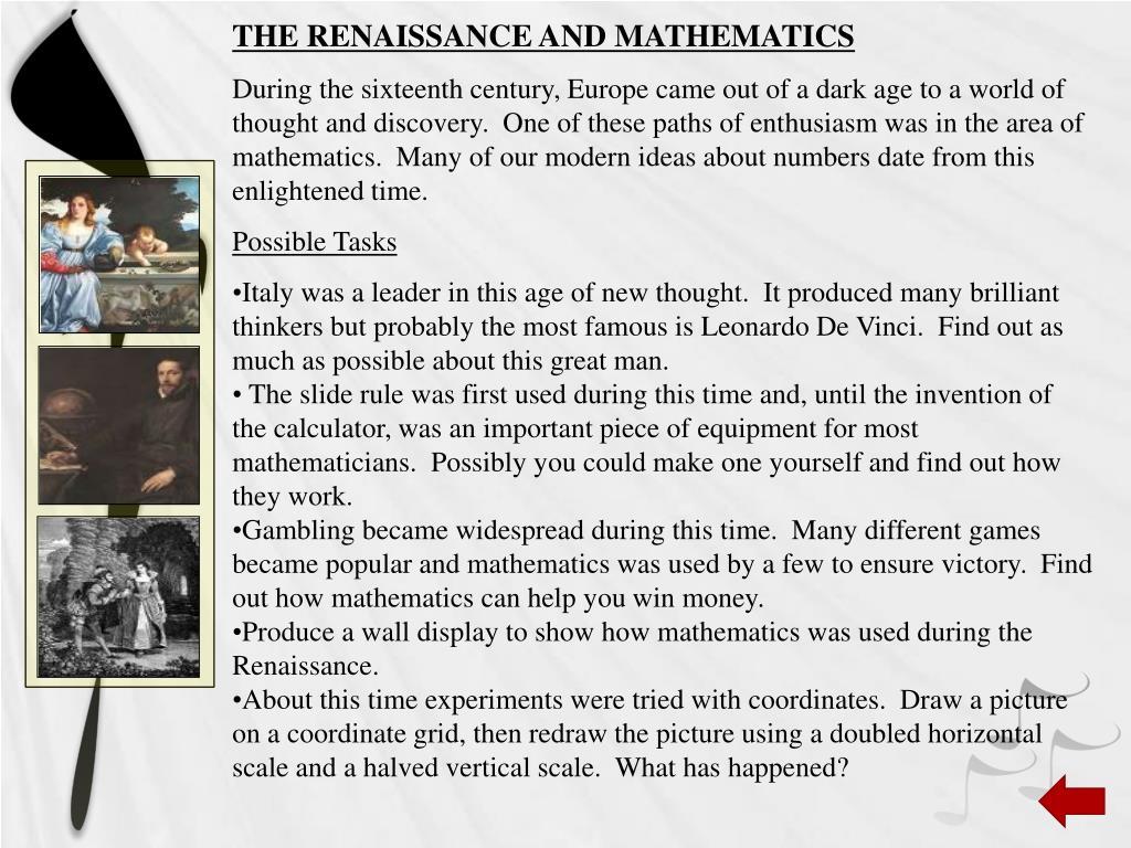 THE RENAISSANCE AND MATHEMATICS
