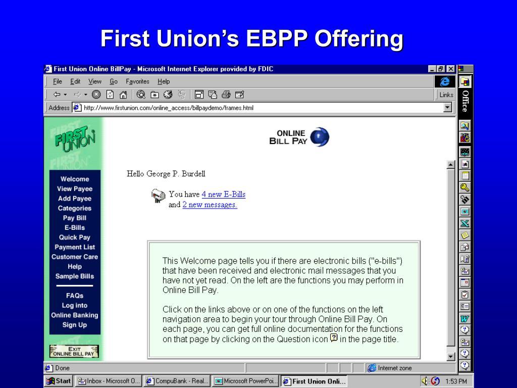 First Union's EBPP Offering