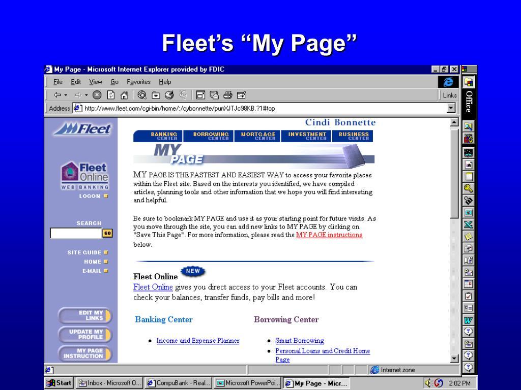 "Fleet's ""My Page"""