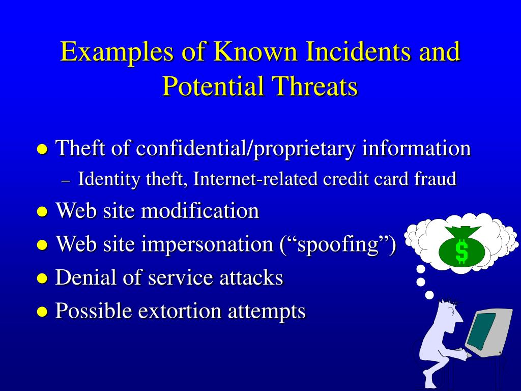 Examples of Known Incidents and Potential Threats