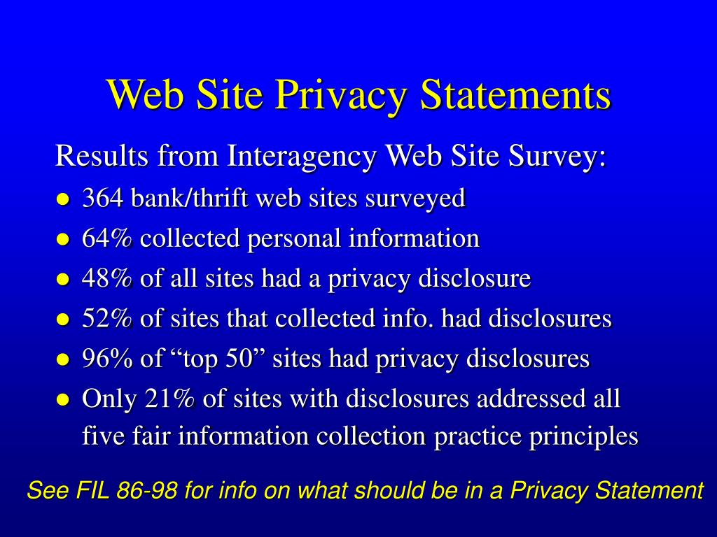 Web Site Privacy Statements
