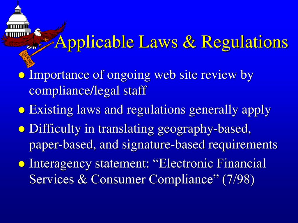 Applicable Laws & Regulations
