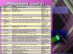 providers cont d