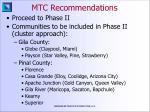 mtc recommendations