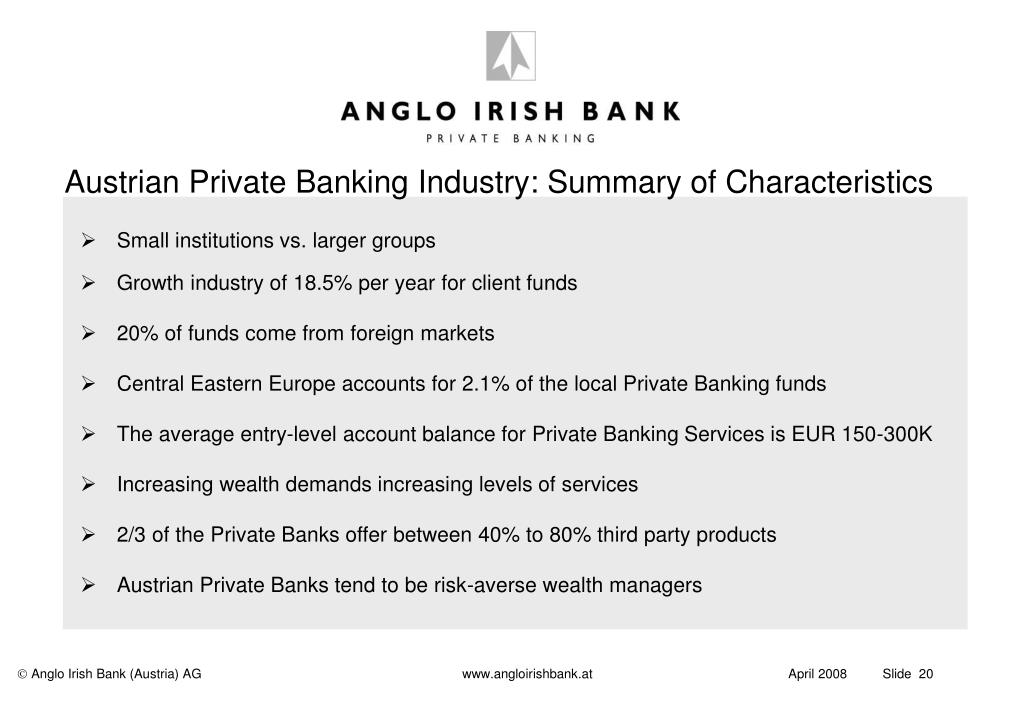 Austrian Private Banking Industry: Summary of Characteristics