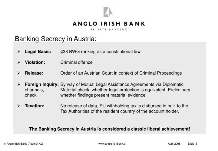 Banking Secrecy in Austria: