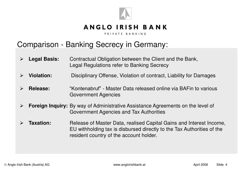Comparison - Banking Secrecy in Germany: