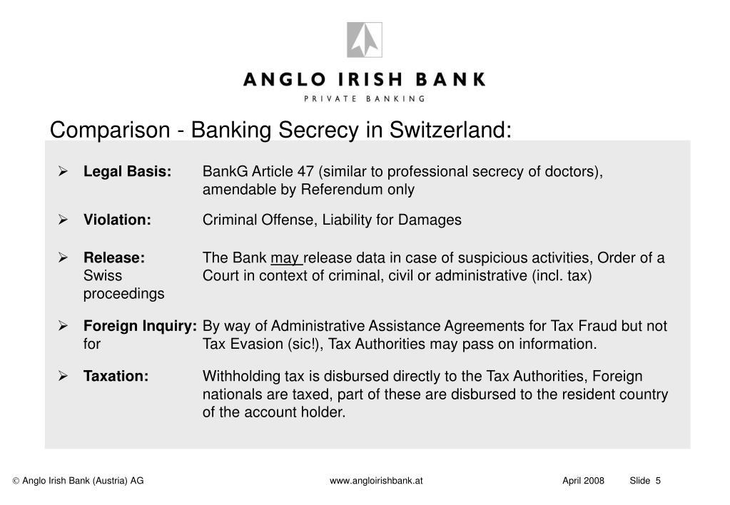 Comparison - Banking Secrecy in Switzerland: